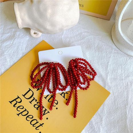 Red beaded festive retro bow long earrings wholesale fashion jewelry NHYQ181510's discount tags