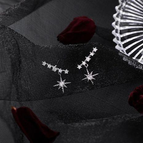 Aretes para mujer de aguja de plata 925 pendientes de estrella cortos cortos pendientes  al por mayor de moda NHMS181411's discount tags