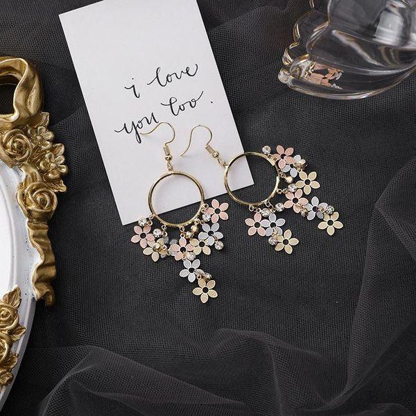 Ring rhinestone flower tassel earrings small petal ear hook wholesales fashion NHMS181439