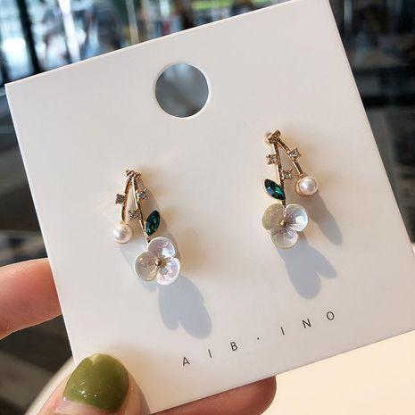 925 aretes  para mujer de flores de concha de aguja de plata pendientes de perlas de diamantes de imitación dulces cortos NHMS181445's discount tags