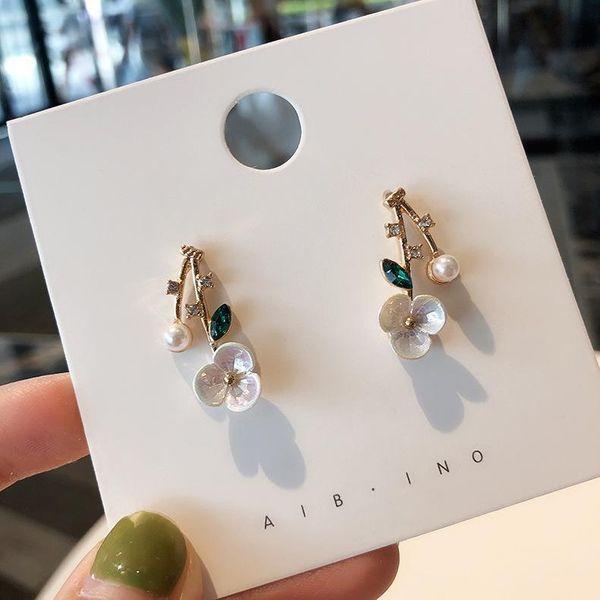 925 silver needle shell flower earrings short sweet rhinestone pearl earrings wholesales fashion NHMS181445