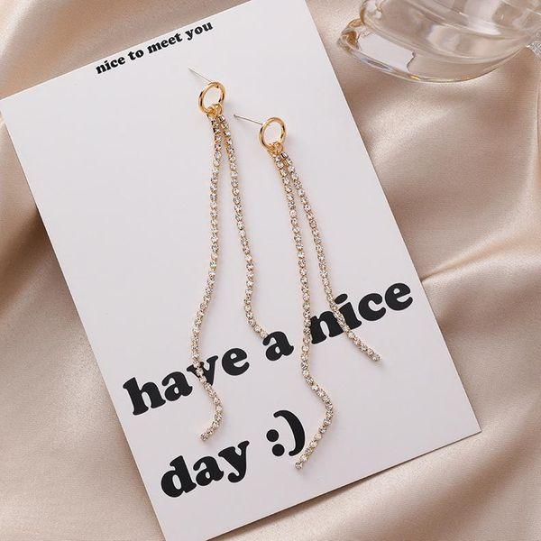925 silver needle personality simple ring rhinestone length tassel earrings wholesales fashion NHMS181446