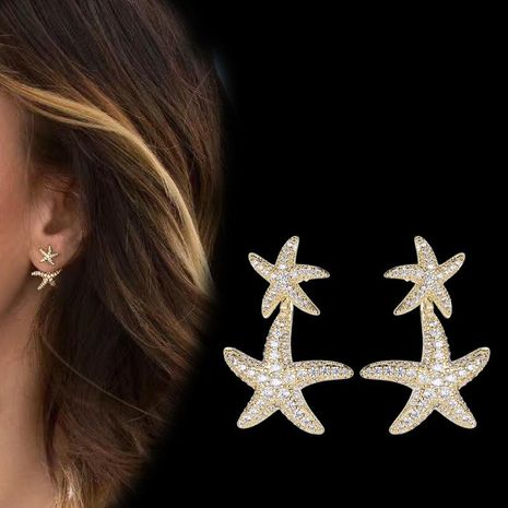 S925 silver needle double star earrings women gold yellow earrings fashion earrings wholesales  NHDO181381's discount tags