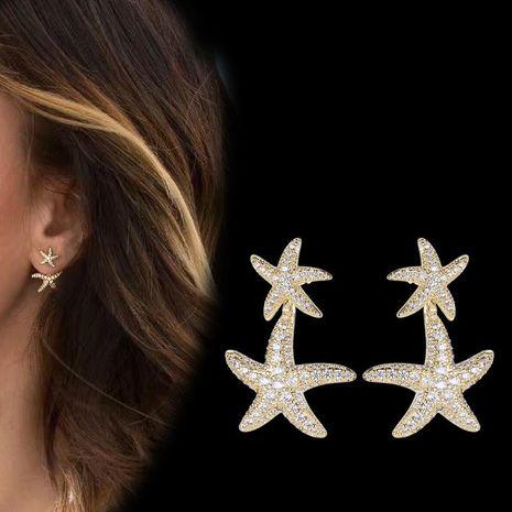 S925 plata aguja doble estrella aretes para mujer oro amarillo pendientes moda al por mayor NHDO181381's discount tags