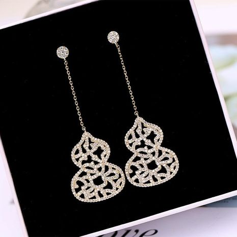 Earrings large gourd long silver needle earrings lace hollow earrings zircon long earrings wholesales  fashion NHDO181393's discount tags