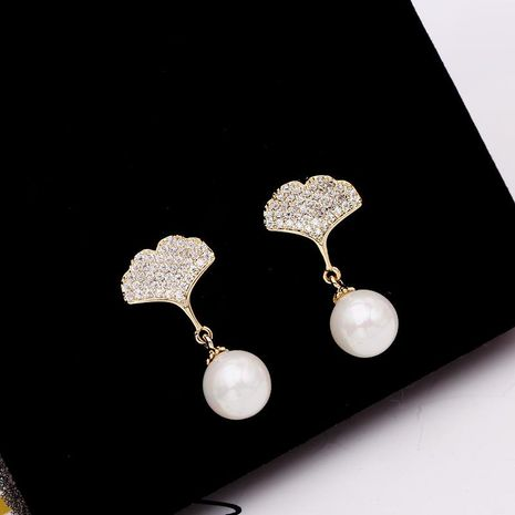 Ginkgo Leaf Zircon Earrings Women's S925 Silver Needle Pearl Stud Earrings wholesales fashion NHDO181395's discount tags