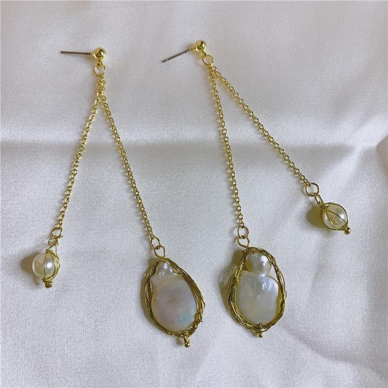 2019 new Baroque earrings female retro earrings natural large pearl earrings wholesales fashion NHYQ181349