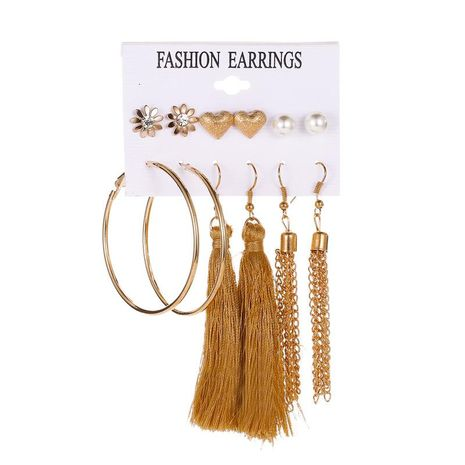 Geometric tassel set earrings sweet love pearl small earrings 6 pairs of earrings wholesale NHDP181292's discount tags