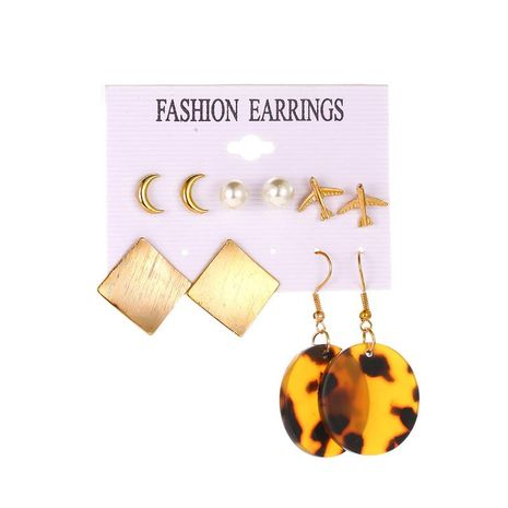 Wholesale fashion jewelry round acetate leopard card earrings 5 pairs of aircraft geometric earrings NHDP181293's discount tags