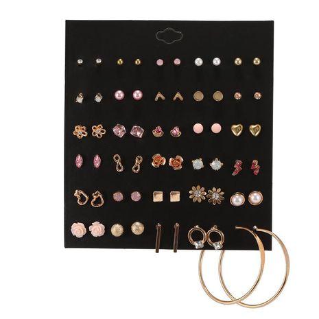 Versión coreana de pendientes geométricos combinados de flores de diamantes de imitación rosa para mujer al por mayor NHZU181257's discount tags
