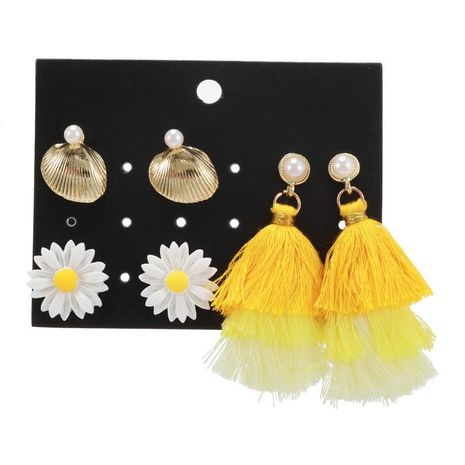 Wholesale fashion jewelry new flower yellow tassel 3 pair earrings set NHZU181260's discount tags