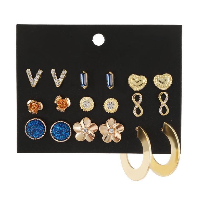 Wholesale fashion jewelry fashion new love flower diamond alloy earrings set NHZU181263