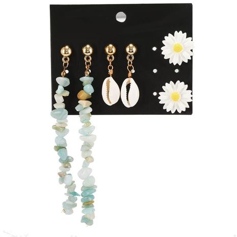 Wholesale fashion jewelry blue gravel shell flower combination geometric earrings suit female NHZU181271's discount tags