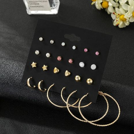 12 pairs of Korean five-pointed star gold-plated love earrings simple earrings set NHSD181478's discount tags