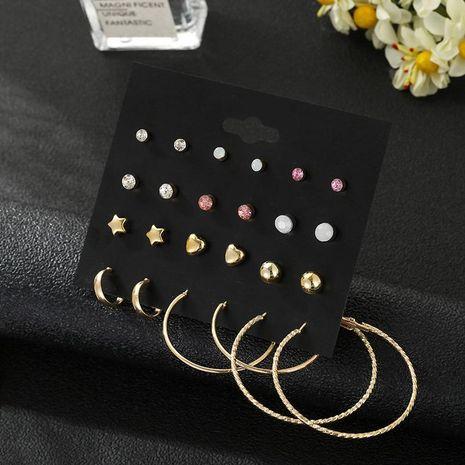 12 pares de aretes de amor coreanos con estrella de cinco puntas chapados en oro set de aretes simples NHSD181478's discount tags