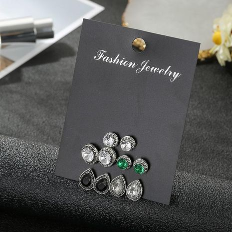 Crystal Stud Earrings Set Prong Set Round Emerald Ear Ornaments 5 Piece Set NHSD181479's discount tags