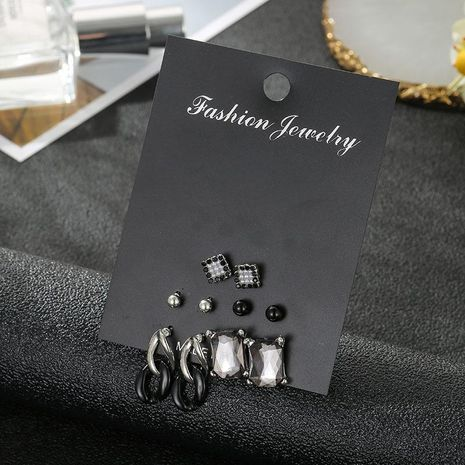 Stud earrings set crystal fashion black simple creative birthday gift combination earrings wholesale fashion jewelry NHSD181481's discount tags