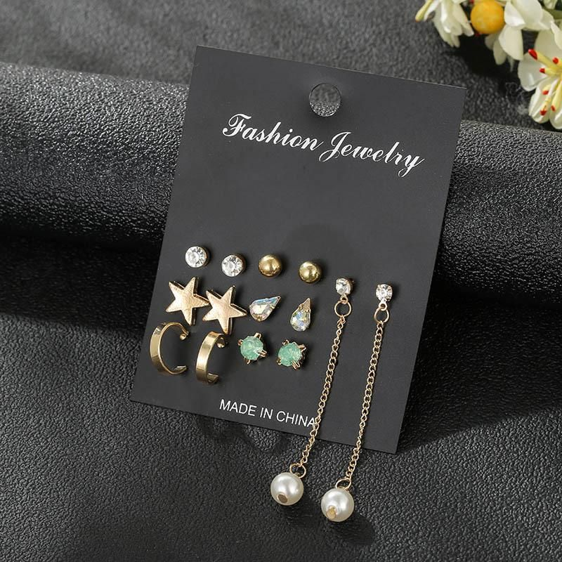 Wholesale fashion jewelry earrings 7 pairs set Korean star earrings for women jewelry NHSD181482