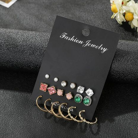 Emerald rhinestone flower earring set wholesale fashion jewelry NHSD181485's discount tags