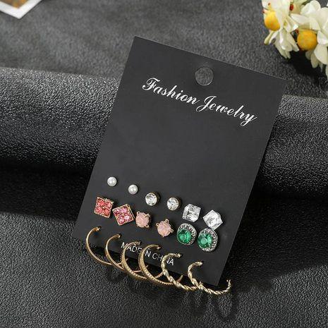 Pendiente de flor de diamantes de imitación esmeralda conjunto joyería de moda al por mayor NHSD181485's discount tags