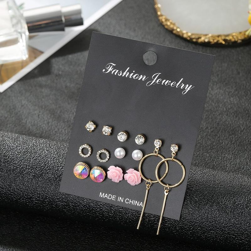 New crystal earrings 7 to South Korea gas allergy simple earrings set wholesale fashion jewelry NHSD181487