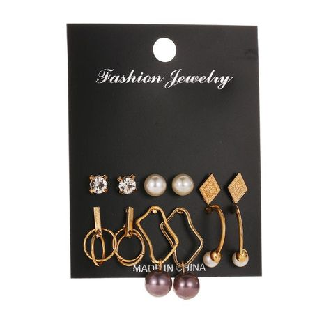 Set aretes para mujer Fashion Pearl Geometric Earrings 6 pares Stud Earrings NHDP181295's discount tags
