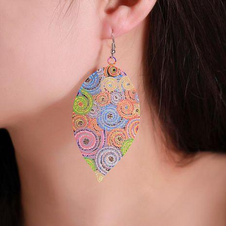 Aretes para mujer de hoja de color calado creativo al por mayor de moda NHDP181301's discount tags