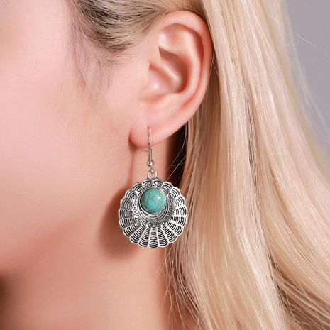 Temperament fan shaped turquoise vintage earrings made of old corrugated metal earrings NHDP181303's discount tags