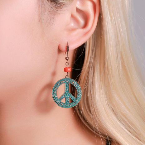 Round Cutout Earrings Vintage Peace Sign Earrings wholesales fashion NHDP181307's discount tags