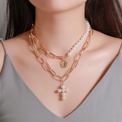 New money decoration exaggerated pearl cross necklace female thick chain multi-layer round portrait pendant NHDP181308's discount tags