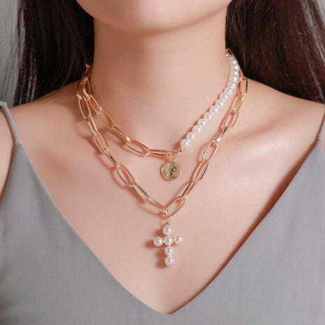 Nuevo dinero decoración collar de perlas exageradas cruz femenina gruesa cadena multi-capa redonda retrato colgante NHDP181308's discount tags