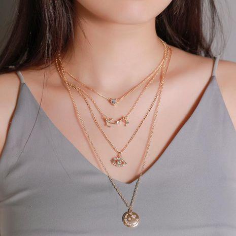 Joyería de moda al por mayor Colgante de luna redonda de múltiples capas de amor Collar de ojos de diamante de 4 capas NHDP181312's discount tags