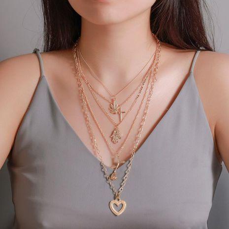 Nuevos accesorios retro 5 capas collar multi-capa rosa amor cruz colgante NHDP181315's discount tags