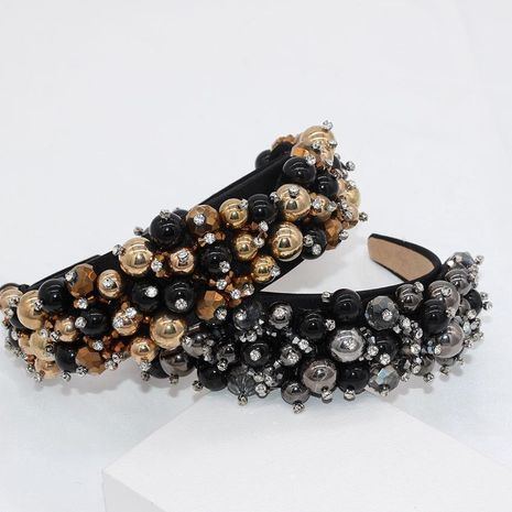 New European and American Baroque rhinestone bead ball headband wholesales fashion NHWJ181541's discount tags