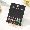 Emerald rhinestone flower earring set wholesale fashion jewelry NHSD181485