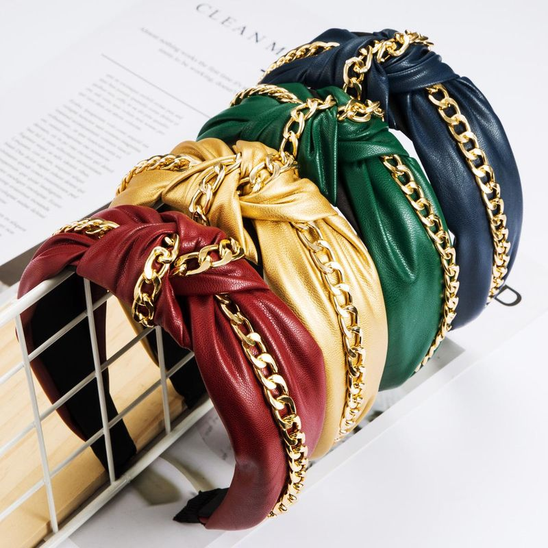 Artificial leather headband alloy chain wide side knotted personality Korean headband NHJE181666