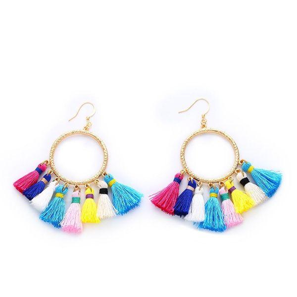 Autumn and winter new earrings boho retro style color tassel earrings NHAS181829