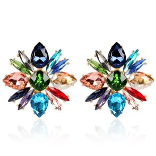 Temperament luxury flower colored diamond earrings temperament crystal drop earrings women NHCT181600's discount tags