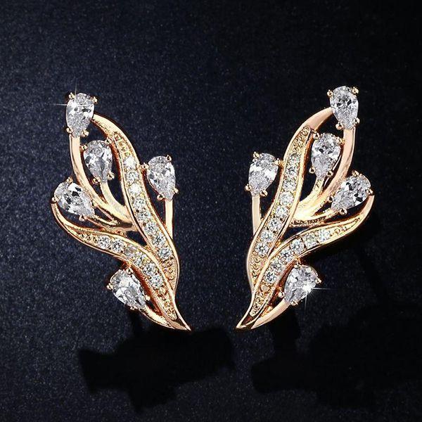 Hot Sale Zircon Earrings Copper Color-Electrostatic Hypoallergenic Ear Pins NHAS181830