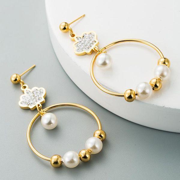 Pendant earrings female popular fashion long 14K pearl stainless steel diamond crown tassel earrings NHLN181836