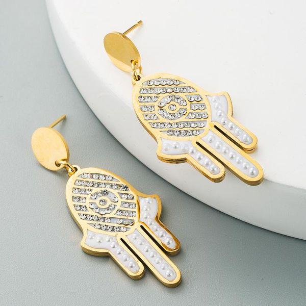 14K Jewelry Fatima Palm Earrings Female Stainless Steel Diamond Earrings wholesales fashion NHLN181837