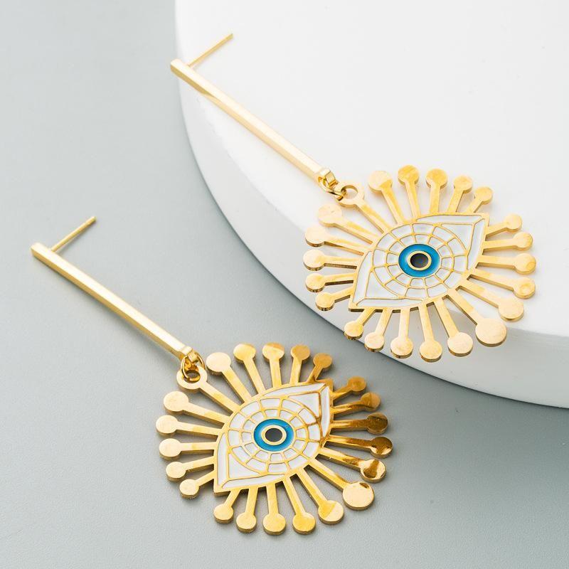 Fashion Classic Blue Devil's Eye Hollow Long Tassel Earrings NHLN181841