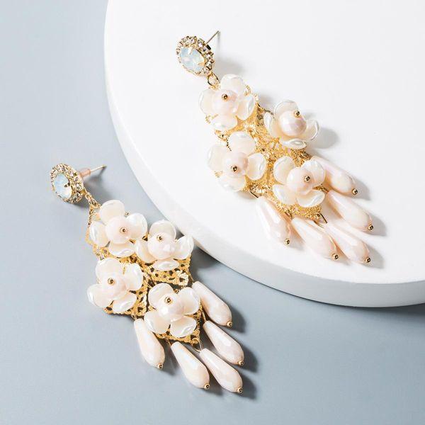 Handmade flower crystal pearl female earrings earrings temperament retro water drop tassel earrings NHLN181859