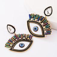 Multilayer alloy oil drop diamond glass glass earrings female retro bohemian NHJE181660
