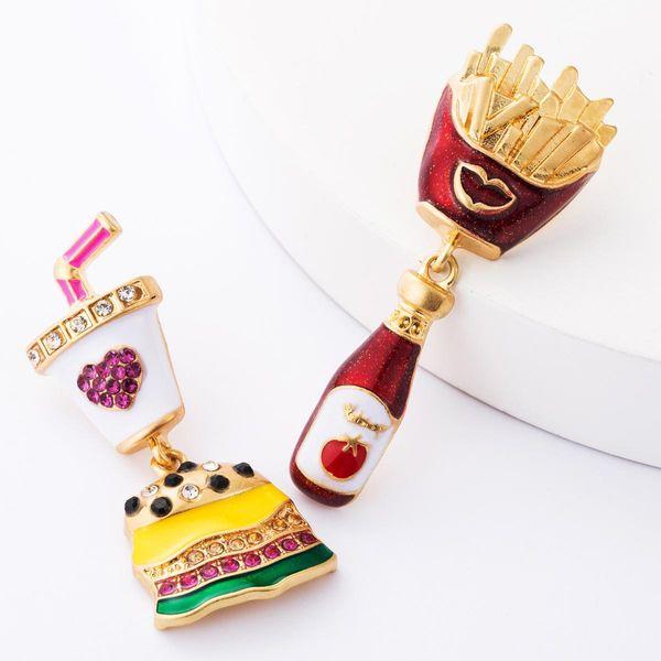 Women's alloy diamond earrings diamond burger fries burger NHJE181661
