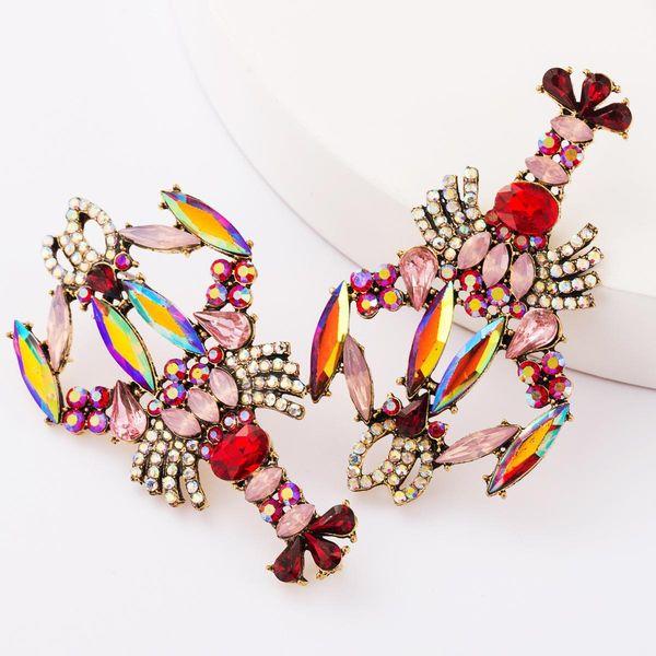 Alloy diamond and rhinestone big lobster earrings women fashion NHJE181662