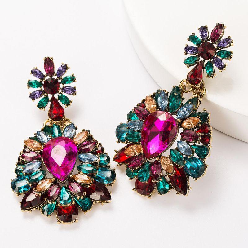 Multi-layer alloy diamond rhinestone glass diamond flower full diamond earrings for women NHJE181664