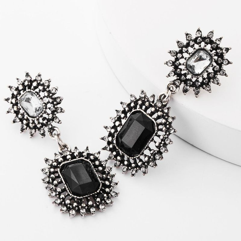 European and American exaggerated multilayer alloy diamond rhinestone glass diamond sun flower-shaped retro earrings female autumn and winter new 2019 NHJE181669