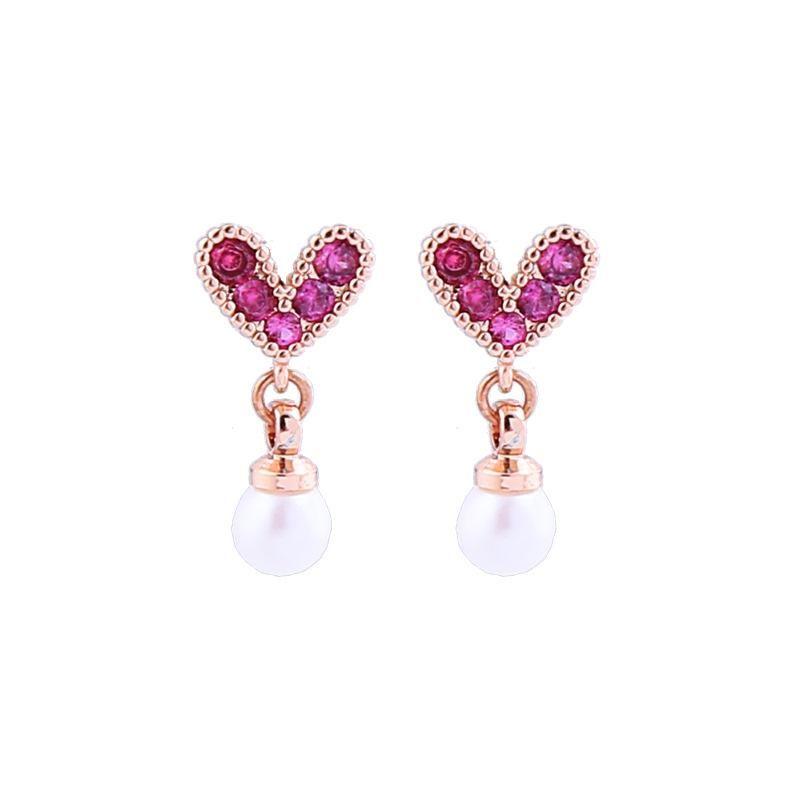 Korean style diamond earrings 925 sterling silver earrings female long heart-shaped tassel earrings wholesales fahion NHQD181765
