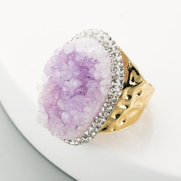 Fashion high-end ring female pure natural stone ring purple crystal 18K gold ring NHLN181860